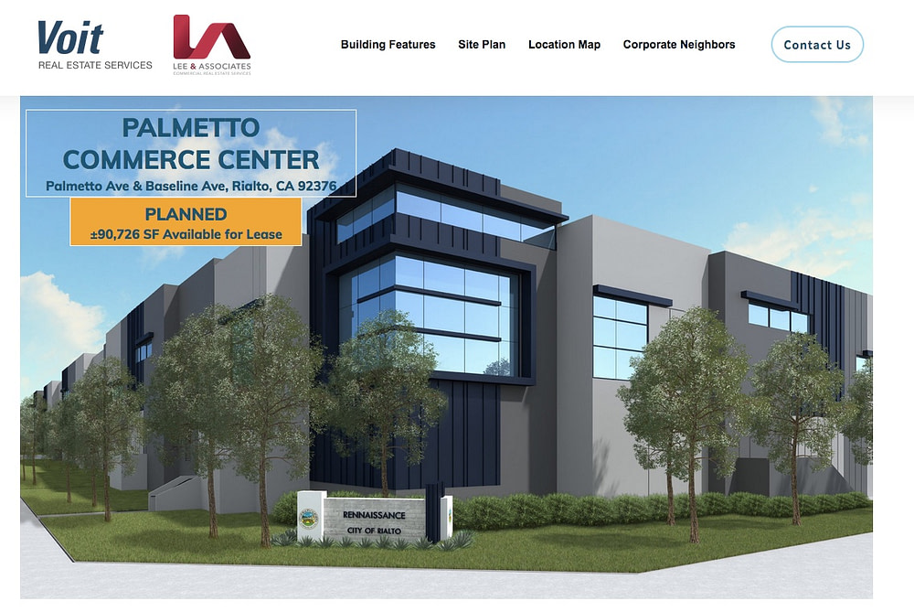 custom property website for industrial real estate listing in Rialto, CA